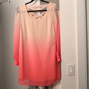 Pink ombre long sleeve dress